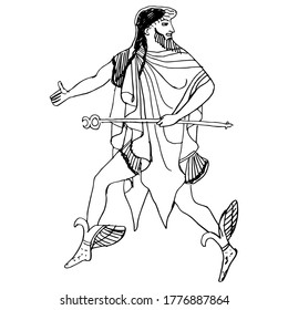 Running ancient Greek god Hermes with caduceus. Hand drawn sketch. Isolated vector illustration. Black and white linear silhouette.