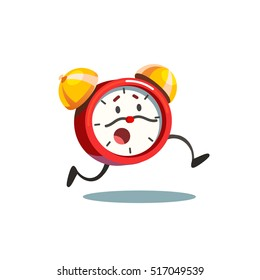 Running animated alive alarm clock with legs and worried face and moustache time arrows. Flat style vector illustration isolated on white background.
