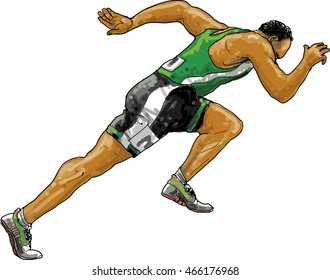 Running athlete with a green shirt