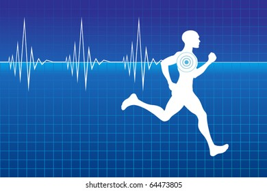 Running athlete on monitor with line of heartbeat.