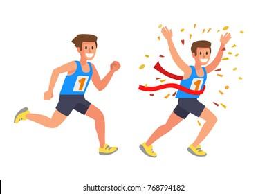Running Athlete Sprinter man in Flat Vector style