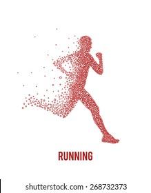 Running athlete. Vector illustration.