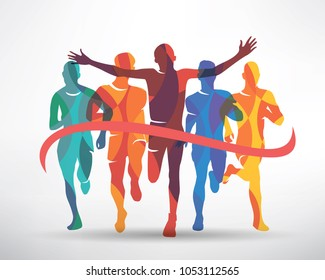 running athletes symbol, sport and competition concept