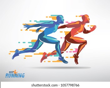 running athletes vector symbol, sport and competition concept background