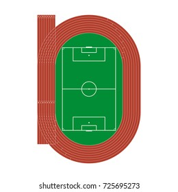 Running athletics track with soccer stadium. Top view of arena field with lines and marks. Vector illustration.