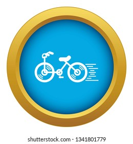 Running bicycle icon blue vector isolated on white background for any design