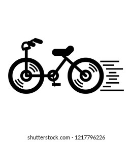 Running bicycle icon. Simple illustration of running bicycle vector icon for web design isolated on white background