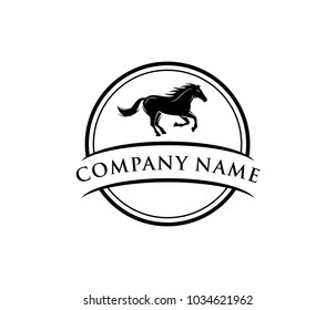 running black horse round badge vector logo design template