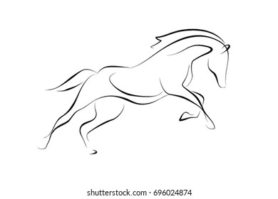 Running black line horse on white background. Vector graphic icon animal.