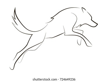 Running black line wolf on white background. Hand drawing vector graphic dog. Animal illustration.
