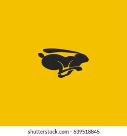 Running Black Rabbit Logo. Vector Illustration.