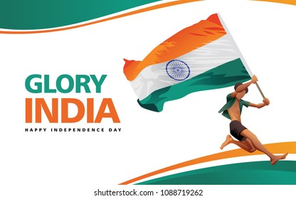 Running Boy With Flag Of Indian Independence Day