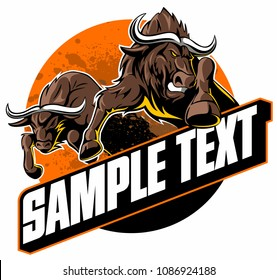 Running buffalo, jumping buffalos, vector image.