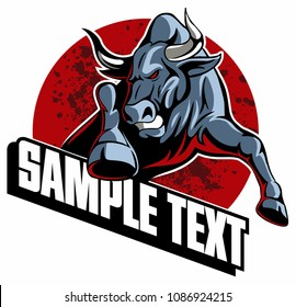 Running bull, jumping bull, vector image.