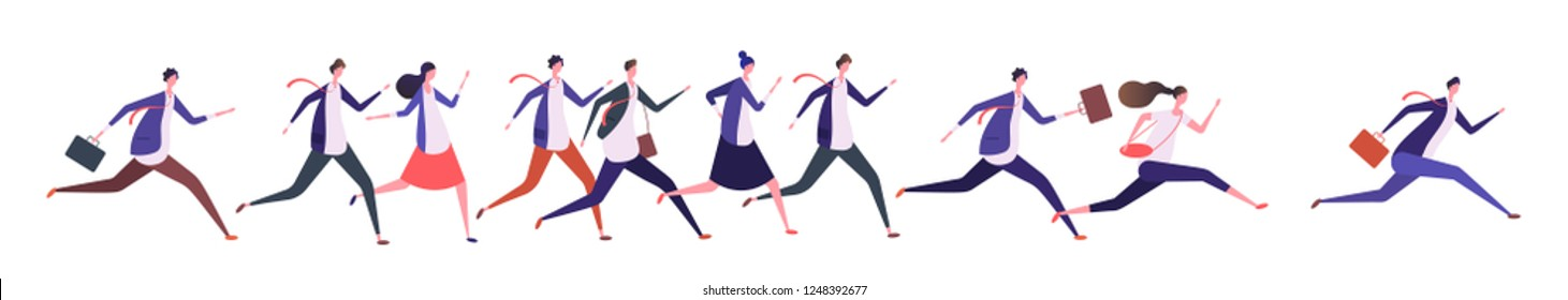 Running business people. Businessman businesswoman, jogging persons run to goal. Competition, leadership and success vector concept