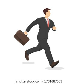 Running businessman with briefcase in modern style vector illustration, business person simple flat shadow isolated on white background.