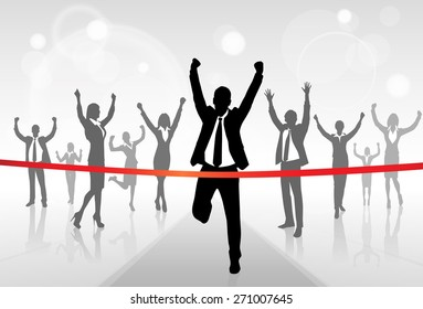 Running Businessman Crossing Finish Line Vector Illustration