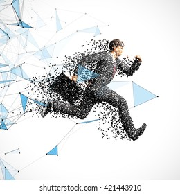 Running businessman figure made of scattered balls. Triangles and dots background