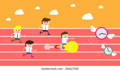 running businessman at the finishing line. wins Race target success. Bulb idea concept. winner. finish. win. flat design.Success. goal.Target. rocket.Business competition. air clock with wings