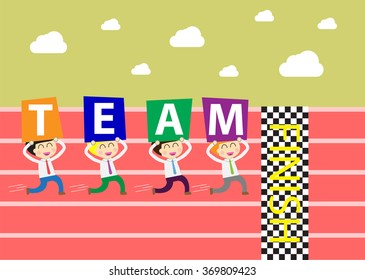 running businessman at the finishing line. wins Race target success. Bulb idea concept. winner. finish. win. flat design. track. Success. goal. Target. team, teamwork. flag