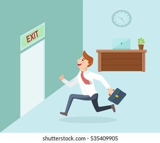 Running businessman and open door exit. Businessman running exit door sign he get off work.
