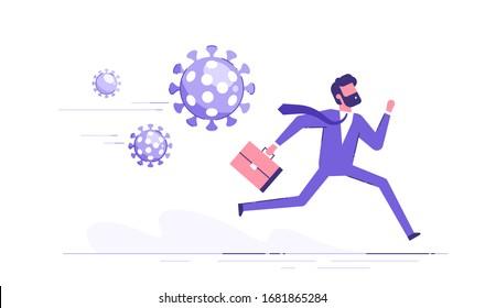 Running businessman in panic is running away from the virus. Coronavirus crisis, covid-19 pandemic concept. Modern vector illustration.