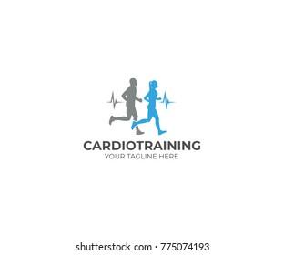Running Cardio Training Logo Template. Athletes Vector Design. Sport illustration