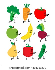 running cartoon vegetables and fruits with arms and legs. broccoli carrot tomato apple banana beet pear pepper cucumber isolated on white background.healthy food