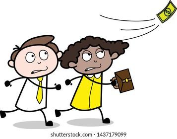 Running to Catch Floating Money - Office Businessman Employee Cartoon Vector Illustration