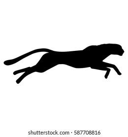 Running cheetah silhouette. Hand drawn image. Black white vector illustration.