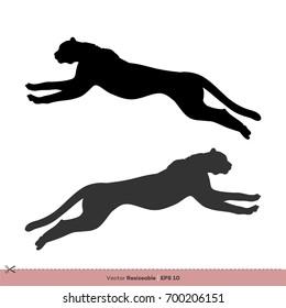 Running Cheetah Silhouette Vector Template