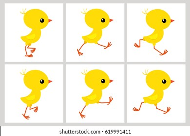 Running chicken sprite sheet isolated on white background. Vector illustration. Can be used for GIF animation