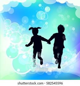 Running children silhouette hands. Vector