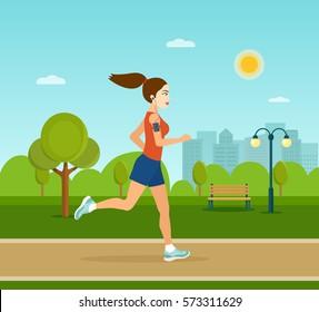 Running in city park. Woman runner outside jogging in park. Vector flat illustration