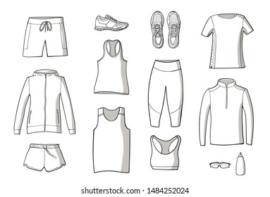 Running clothes set of hand drawn illustrations. Doodle style. Line on white background