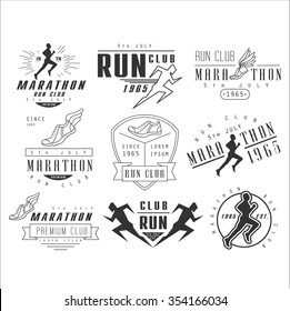 Running club labels, emblems and design elements vector set