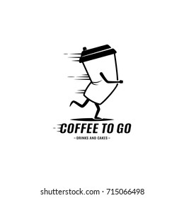 Running Coffee Cup or Mug Logo in monochrome style. Coffee to Go Concept. Template for your cafe, restaurant, logo, badge, sign, emblem, sticker, tag, apparel.
