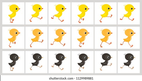 Running colorful chickens sprite sheet isolated on white background. Vector illustration. Can be used for GIF animation