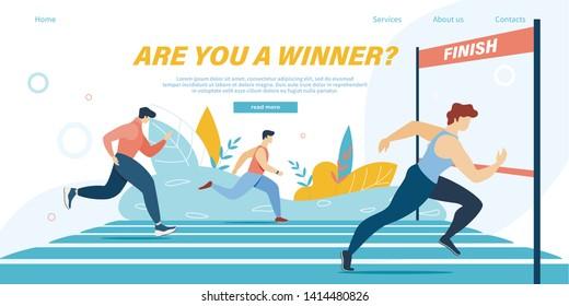 Running Competition, Group of Athlete Sprinter Sportsmen Team Run Marathon Distance or Sport Jogging Tournament Race on Stadium, Winner Crossing Finish Line Cartoon Flat Vector Illustration, Banner