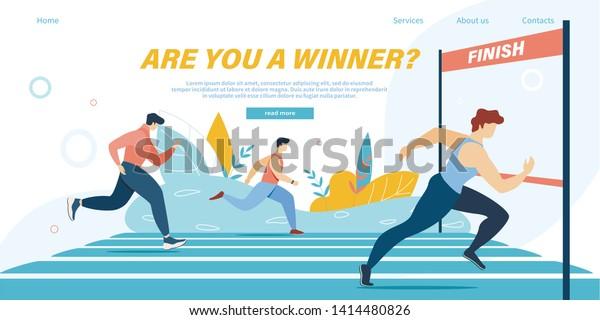 Running Competition, Gruppe Athlete Sprinter Sportsmen Team Marathon Distance oder Sport Jogging-Turnier Race auf dem Stadion, Gewinner Crossing Finish Line Cartoon flache Vektorgrafik, Banner, Banner