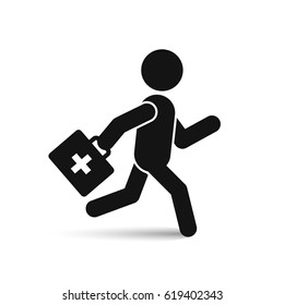 Running doctor icon isolated on white, vector.