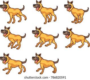 Running Dog Cartoon Animation Sprite