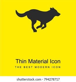 Running dog silhouette bright yellow material minimal icon or logo design