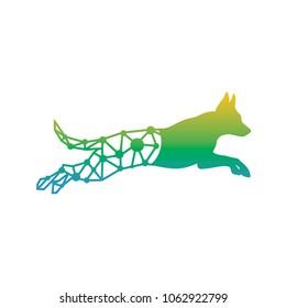 running dog tech logo design