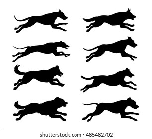Running dogs silhouette vector illustration