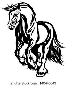 running draft horse black and white illustration
