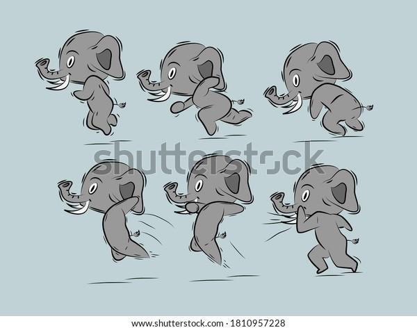 running elephant illustration with japan kawaii  doodle concept