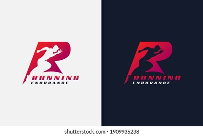 Running Endurance Logo Design. Abstract Initial R Logo with Running Man Silhouette. Sport Logo Vector Illustration.