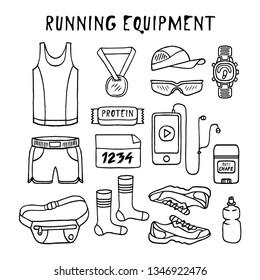 Running Equipment in doodle style. Vector.