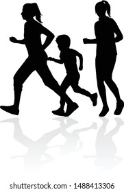 Running  family - black silhouettes of people.
